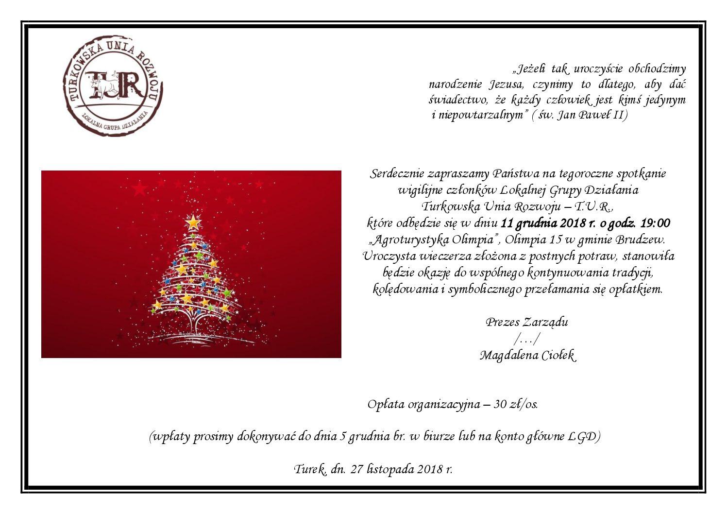 Zaproszenie Na Kolację Wigilijną Turkowska Unia Rozwoju